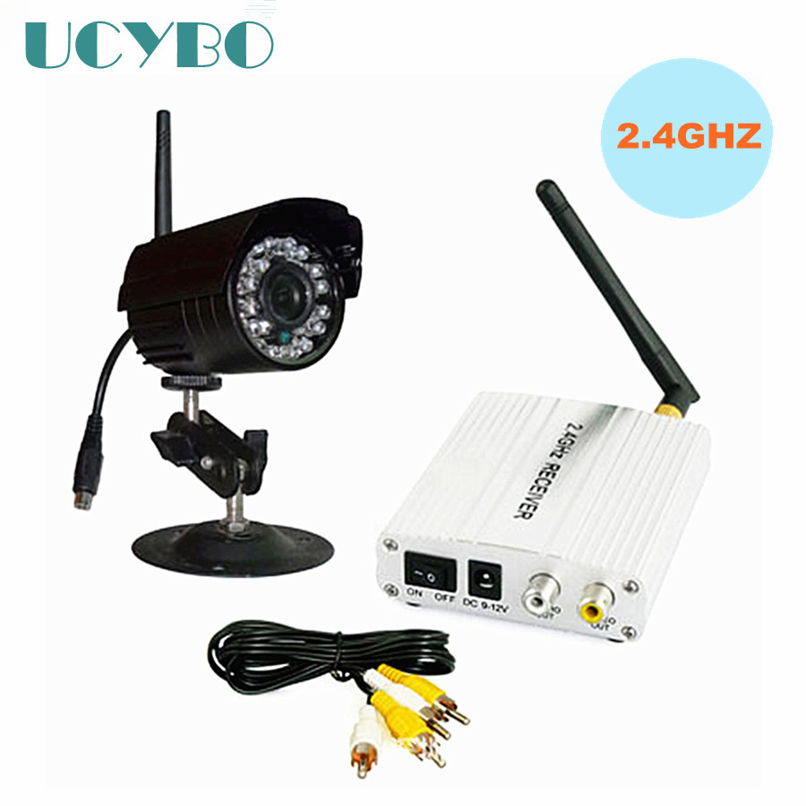 2.4GHZワイヤレスカメラビデオオーディオcctvセキュリティシステムWIFI受信機送信機屋外ナイトビジョンワイヤレス監視キットドアワイヤレスモニター付き
