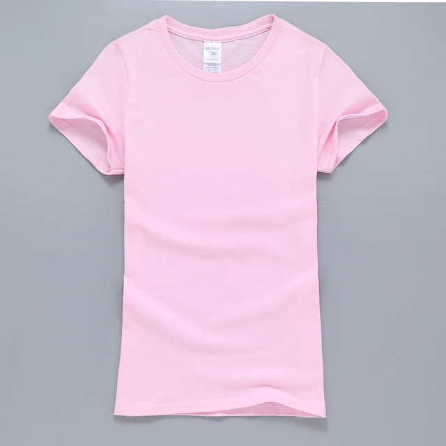 Pure Pink Kawaii Women T Shirt 2017 New Solid Color T Shirt For ...