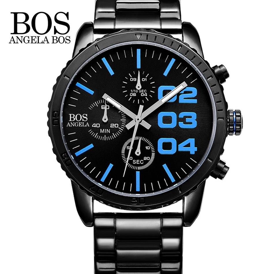 ANGELA BOS Top Brand Luxury Male Sport Quartz Watch Men Stainless Steel Band Wristwatch Calendar Stopwatch Waterproof Clock wen design hand painted shoes custom anime samurai champloo slip on canvas sneakers for men women s special gifts