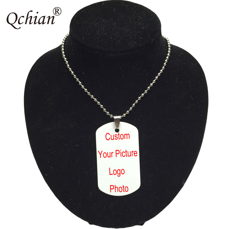 Personalized Custom Necklaces Pendants Stainless Steel Engraving Photo Names Letters Dog Tag Necklace DIY Gift