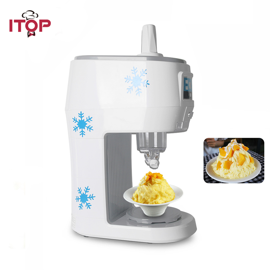 ITOP 300W Semi-automatic Snowflakes Ice Crusher Shaved Machine Fruit Juice Store Electric Smoothies Snowflake Maker 70kgs/h