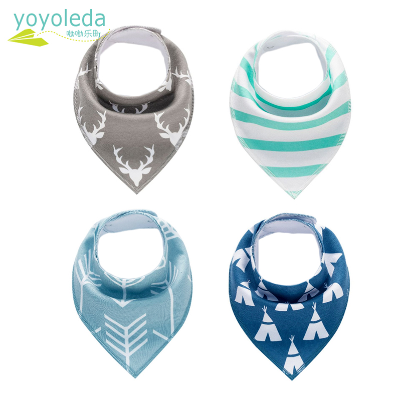YOYOLEDA 4pcs/lot Baby Girls Feeding Stuff Bibs Infant Soft Cotton Printed Triangular Boy Saliva Bib Newborn Bandana Accessories
