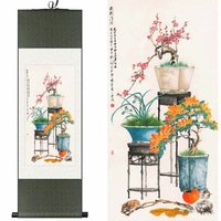 Ipek suluboya mürekkep bakır hala açelyalar orkide bonsai çiçek düzenleme çiçekçilik sanat duvar resim tuval çerçeveli kaydırma boyama