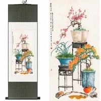 Silk watercolor ink copper still azaleas orchid bonsai flower arranging floristry art wall picture canvas framed scroll painting