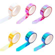 Блеск радуга лазер васи лента канцелярские товары скрапбукинг декоративный клей ленты поделки маскировка лента