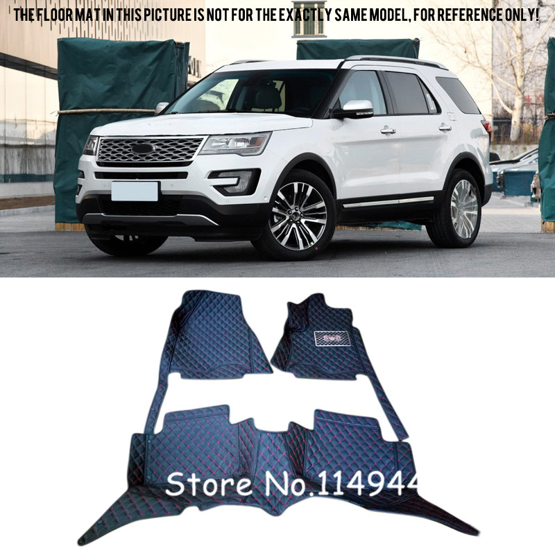 For Ford Explorer 7 Seats 2016 2017 Interior Durable Special Waterproof Custom Car Floor Mats Front & Rear customs 5 seats 1 set car floor mat leather waterproof front