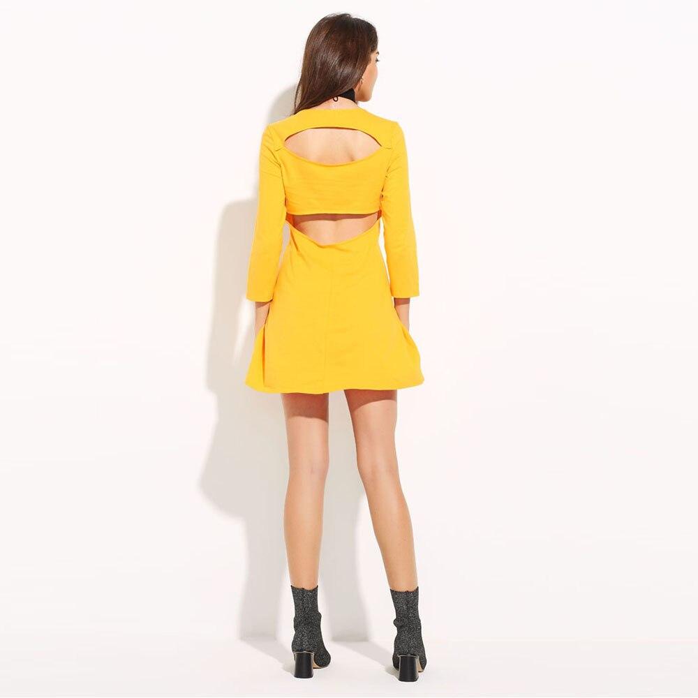 MY MAYAASOS Spring Dress 2017 Back Cut Up Yellow Dress Women Long ... 5525b4a16