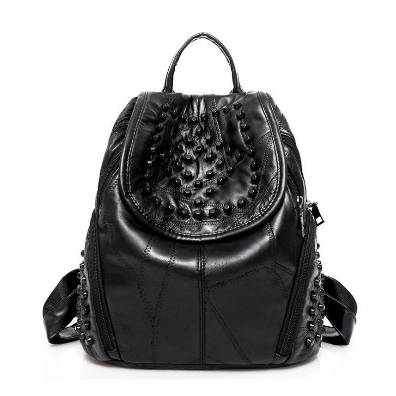 Homeda новый элегантный дизайн заклепки Мужская Рюкзак из искусственной кожи на молнии Современные softback Женская мода сумка Mochila feminia z0247