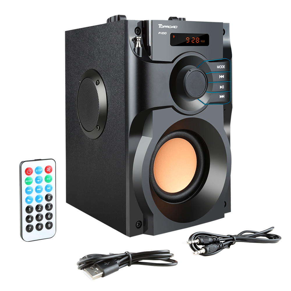 Image 5 - TOPROAD Wireless Bluetooth Speaker Stereo Subwoofer Bass Speakers Column Soundbox Support FM Radio TF AUX USB Remote Control-in Outdoor Speakers from Consumer Electronics