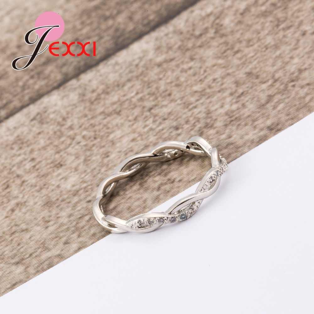 Nouveauté élégant pur 925 argent Sterling spécial belle enroulement brillant strass fines anneaux bonnes filles/femmes