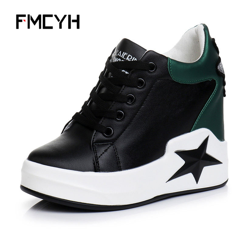 FMCYH Casual Shoes Women 2018 Fashion Spider Black Ladies Sneaker Leather Wedge Platform Casual Shoes High Heel Womens Shoes