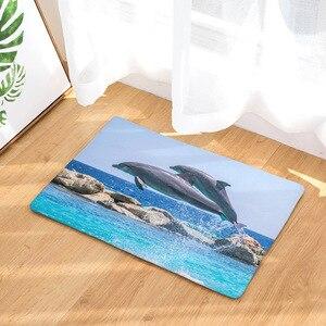 Image 4 - CAMMITEVER Foot Door Yoga Chair Play Mat Bathroom Hallway Carpet Area Rug Rectangular Home Decoration Dolphin In Blue Sea