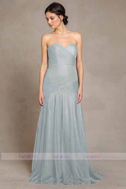 Dark Grey Soft Tulle Women Long Prom Dress Convertible Bridesmaid Dresses For