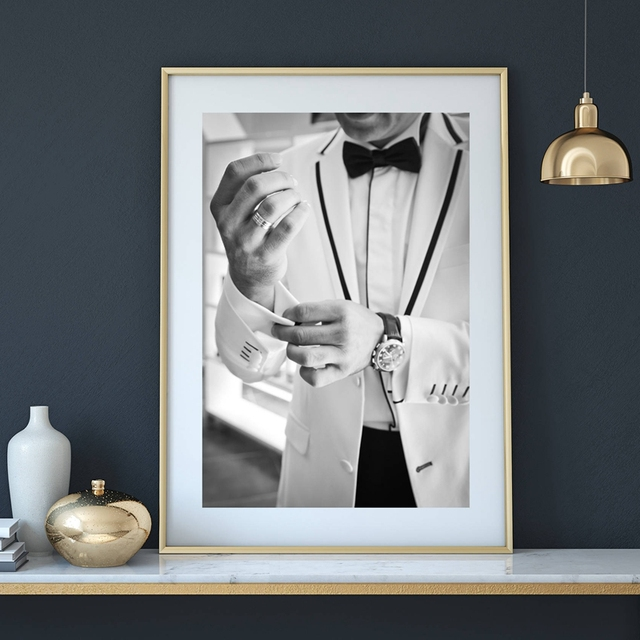 gentleman canvas painting art poster fashion man in a suit makeup