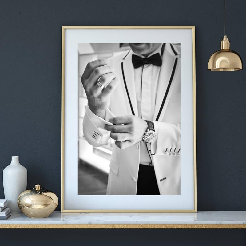 Gentleman Leinwand Malerei Kunst Poster, mode Mann In Einem Anzug ...