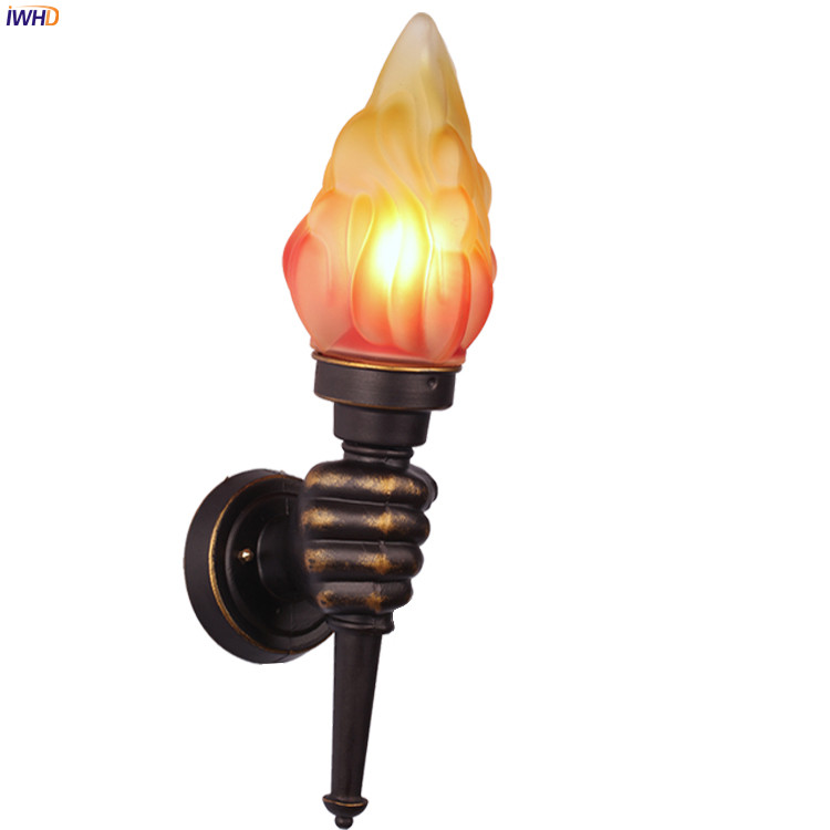 Image 3 - IWHD Europe Torch Vintage Wall Light Home Lighting Blacony Corridor LED Wall Lights Fixtures Sconce Luminaire Lampara Pared-in LED Indoor Wall Lamps from Lights & Lighting