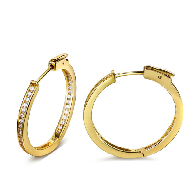 2017 New 2.6cm Diameter Hoop earrings in18K Gold And Silver Plated With AAA+ Cubic Zircon Stones New Hoop Earring
