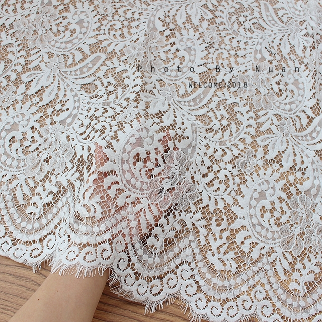 Flowers Black Eyelash Network Lace Fabric Width 1.5 Meters DIY Craft Clothing Supplementary Material