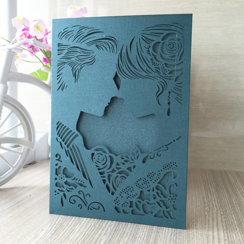 12pcs lot romantic Free shipping Design Rustic kissing couple Wedding  Invitations Laser Cut Invitation Cards party decoration-in Cards    Invitations from ... 8aa15d8eae9e