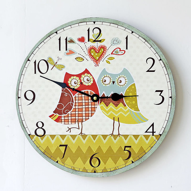 Pastoral Large  Wooden Wall  Clocks Decorative Wall Hanging Clock Creative European Owl   Pattern Home Decor Gifts
