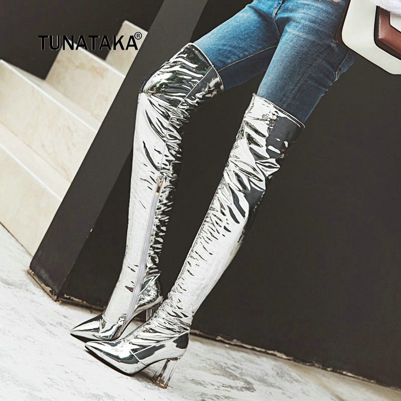Women Sexy Patent Leather Thick High Heel Over The Knee Boots Fashion Zipper Boots Ladies Pointed Toe Fall Winter Thigh Boots new fashion women shoes pointed toe patent leather lady high heel boots for women sexy over the knee boots nightclub pumps