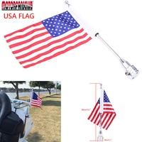 Custom Big AMERICAN US FLAG 15 Pole Motorcycle Bike Univeral Luggage Mount USA For Harley