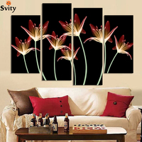 Wholesale 4pcs Abstract lilies Flower Painting Printed Painting On Canvas Home Decorative Art Picture H153