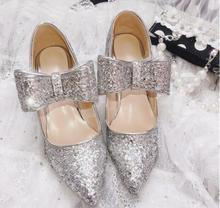 Hot Fashion Silver Sequined Cloth Square heel Shoes Pointed Toe Butterfly-Knot Womens Bling Shallow free Shipping Pumps