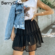 BerryGo print mini women skirts High waist polka dot tassel green A line summer skirt Sexy ruffle beach female tutu skirts 2019