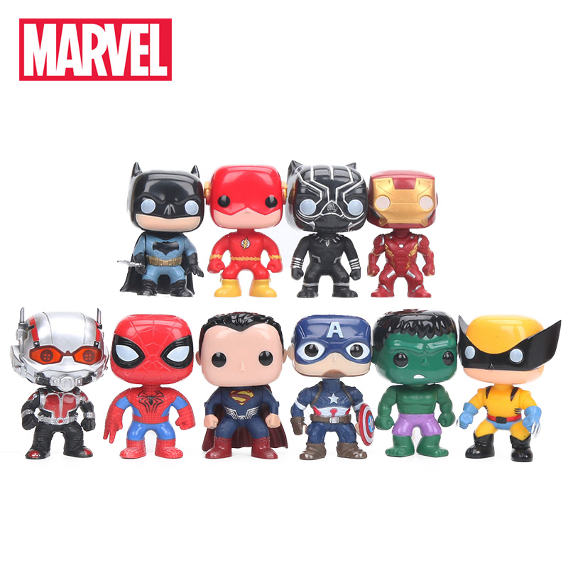 10cm 10pcs/set Justice League & Avengers Figure Set Super Hero Characters Model Vinyl Doll Figures Collectible Model Marvel Toys(China)
