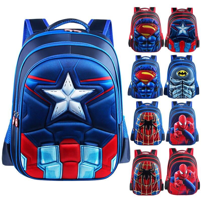 2019 Mode Superman Batman Spiderman Captain America Junge Mädchen Kinder Kindergarten Teenager Schulranzen Kids Student Rucksäcke Gute WäRmeerhaltung