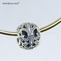 Pandulaso Fleur De Lis Openwork Charm Original 925 Sterling Silver Jewelry Fit European Charms Bracelets Bangles