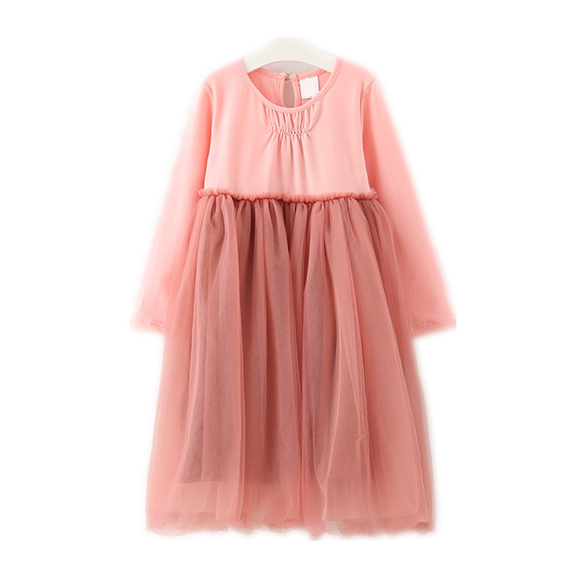 4 to 14 years kids & teenager girls patchwork tulle princess party dess children fashion long sleeve spring fall dress clothes ...