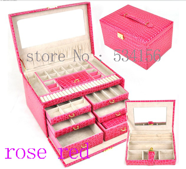 Watch Box Earrings Necklace Pendant Jewelry Organizer Display Shelf Ng Rose Red Gift Leather In Packaging