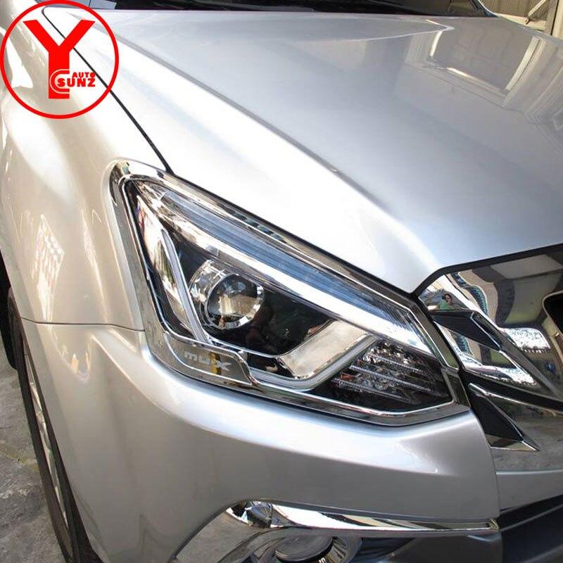 chrome head light cover For isuzu mux mu x 2017 2018 ABS car styling headlight cover lamp car auto parts accessories YCSUNZ