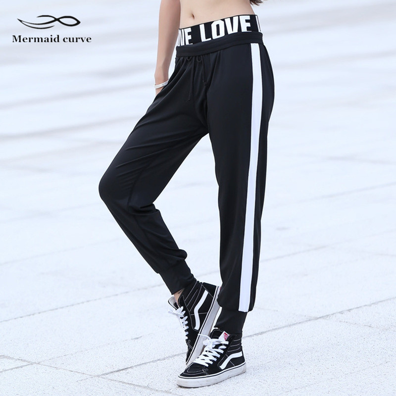 Mermaid Curve Letter LOVE Women Outdoors Running Elastic Band Jogger Pant Trousers Quick Dry Sports Fitness Gym Loose Full Pant