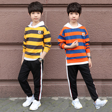 Spring Boys Clothing Set Teenage Casual Suit 2pc Children Sets Hooded Sweatshirt+Pants Cotton