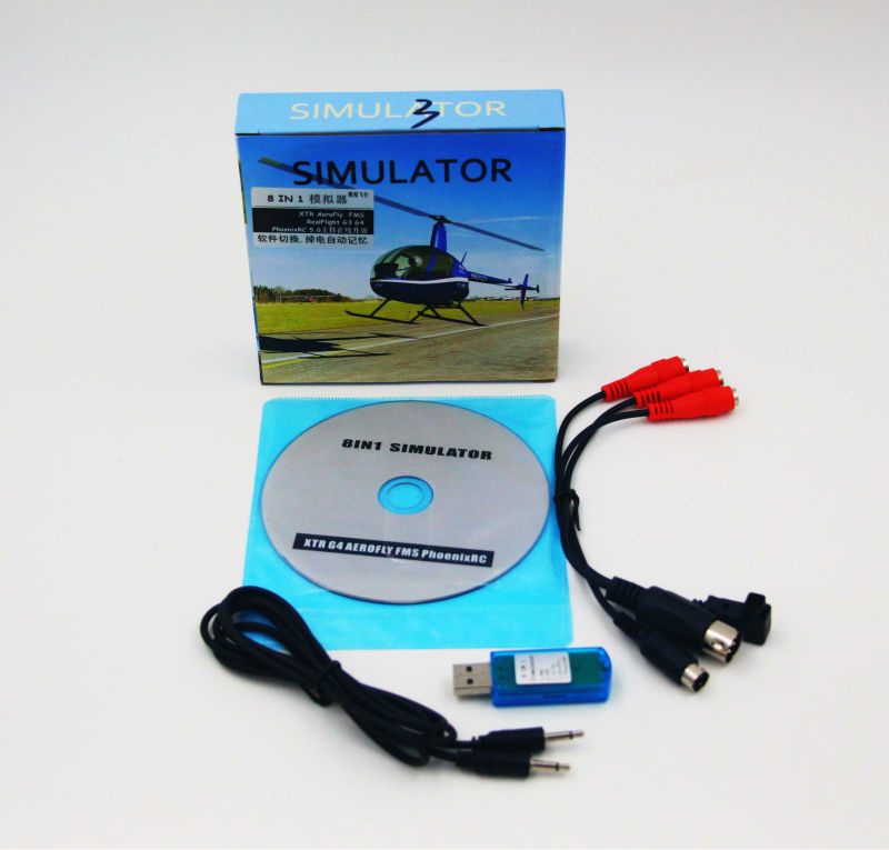 8en1 USB Cable Simulador de Vuelo (Phoenix, RealFlight G4, XTR, AeroFly, FMS) forFutaba ESky JR WFLY 4-8Ch Habilidad Traning Envío Gratis
