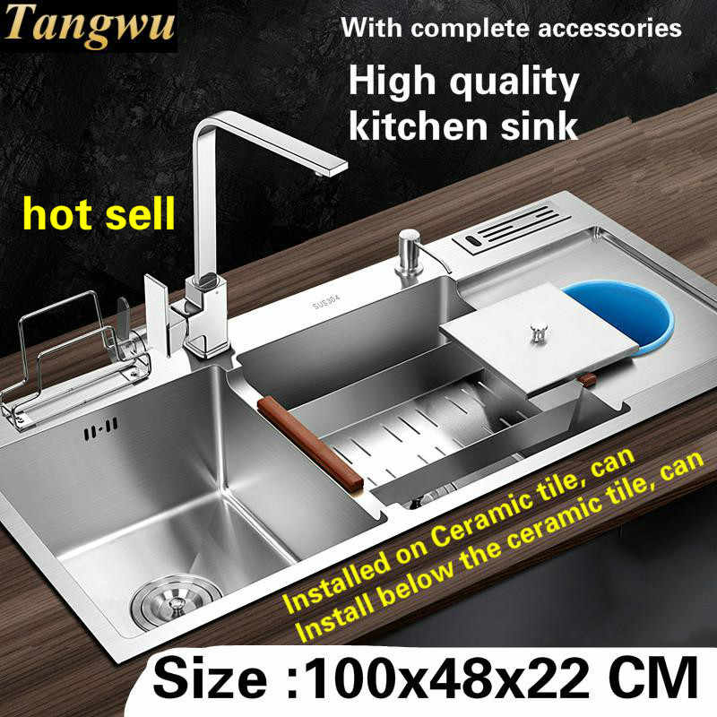 Tangwu High quality food grade 304 stainless steel kitchen sink thickness 4 MM larger double groove 1000x480x220 MM