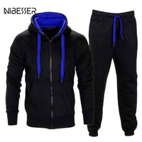 NIBESSER Brand Autumn Men S Tracksuits 2 Piece Set Zipper Hood Jacket Sweat Pant Sportsmen Casual