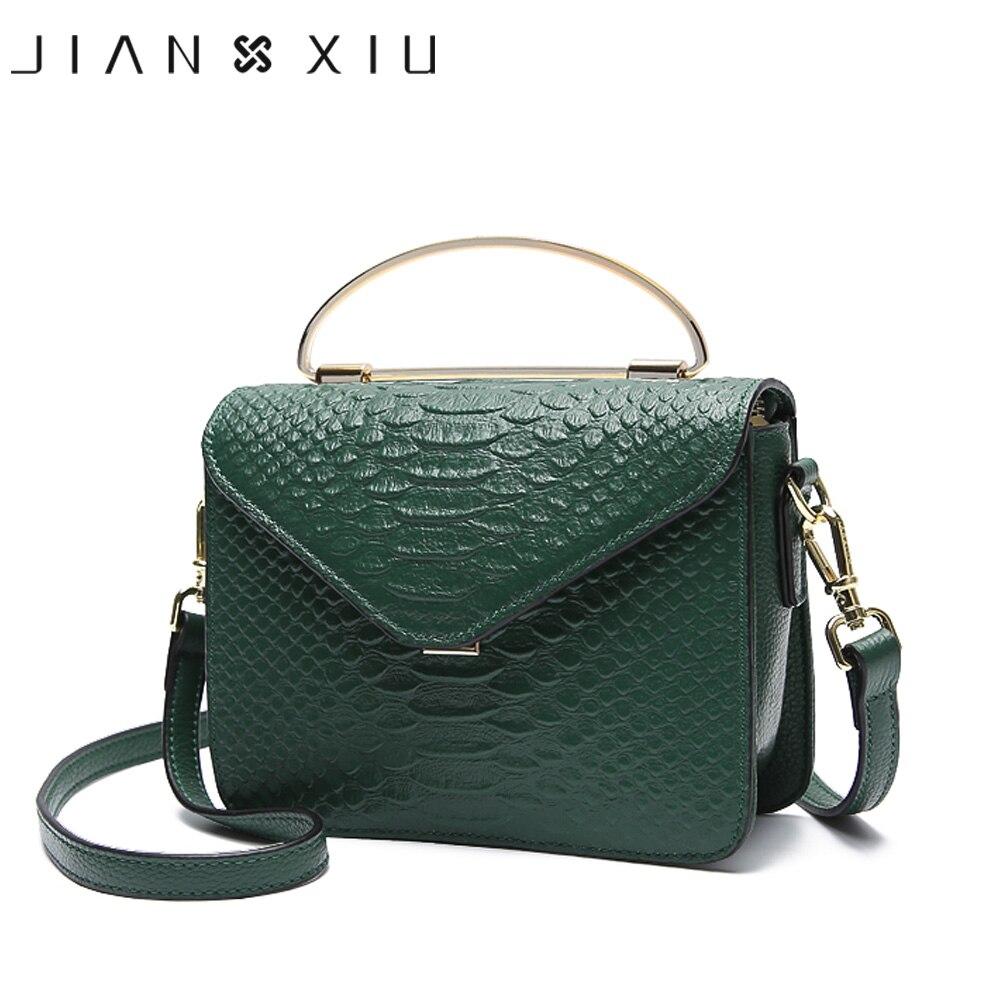 JIANXIU Genuine Leather Handbag Metal Portable Design Women Shoulder Crossbody Bags Fashion Crocodile Pattern New Small