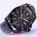 43mm Parnis pvd mostrador preto caso Luminous marcas vidro de Safira Resistente À Água 21 jóias miyota Mecânico Automático dos homens relógio