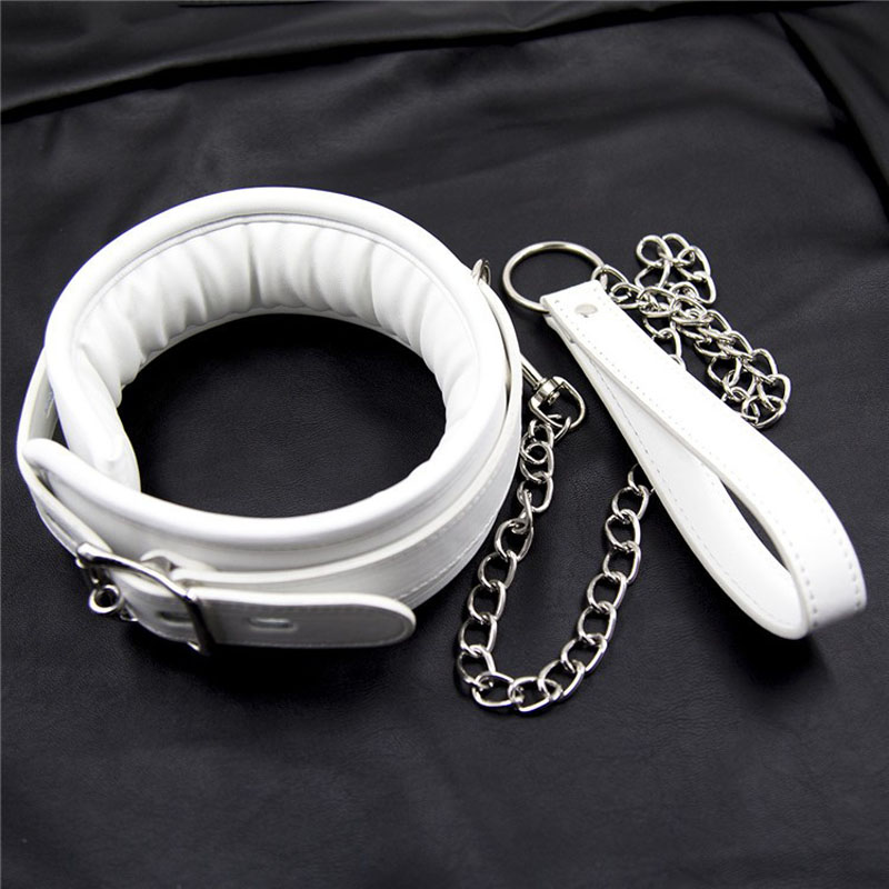 Quality White Leather Bondage Harness Slave Bdsm Collar And Chain Leash Neck Corset -8376