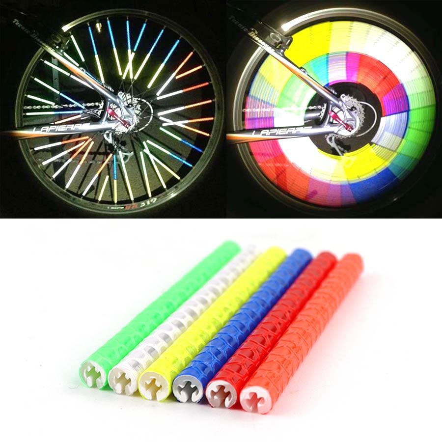 12Pcs Bicycle Reflective Tube Bike Riding Wheel Rim Spoke Mount Clip Light Strip