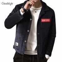 Cloudstyle 2018 Mode Winterjas Man Enkele Breasted Volledige Mouw Mannelijke Jas Katoen Corduroy Jacke Mannen plus size M-5XL