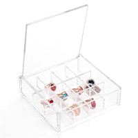 12 Lattices New Fashion Makeup Organizer Cosmetic Clear Case Display Box Jewelry Storage Holder Wholesale Free
