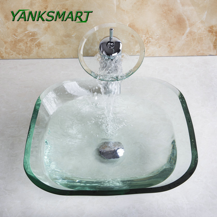 Yanksmart Square Bathroom Transparent Washbasin Clear Tempered Glass