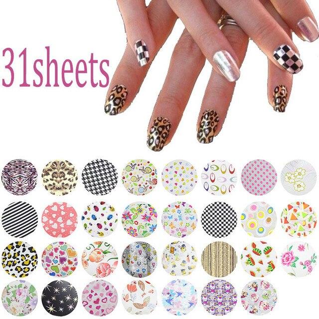 31pcs Lot 20 4cm Symphony Nail Foil Sticker Flower Style Art Transfer