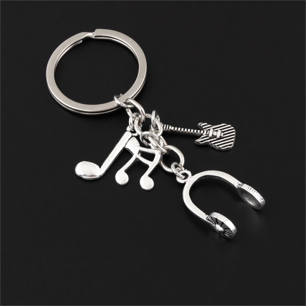1Pc New Arrival Music DJ Headphone Keychain Guitar Musical Note Keyring Gifts For Men Women Jewelry Accessories E2581