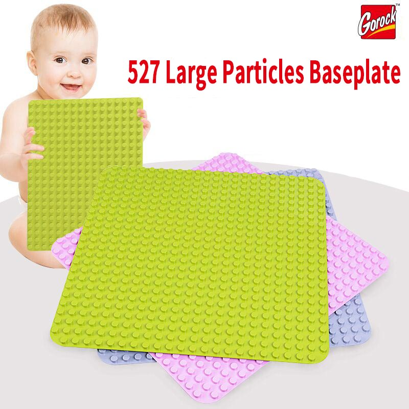 GOROCK 527 Dots Large Size Baseplate Big Base Plate Exlarge Brick Solid Plate Building Block Toys Compatible Duplo For Kids Gift new big size 40 40cm blocks diy baseplate 50 50 dots diy small bricks building blocks base plate green grey blue